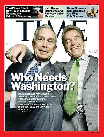 A photo of Michael Bloomberg and Arnold Schwarzenegger