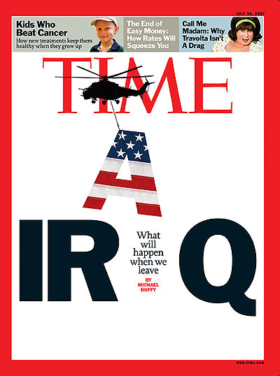 The word IRAQ with the capital A as an American flag being carried away by a silhouette of a helicopter. Photo-Illustration for TIME by Arthur Hochstein. Helicopter by Piotr Przeszlo/Shutterstock