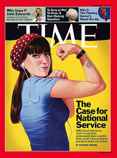 Illustration of woman flexing muscle fashioned after classic WWII era 'Rosie the Riveter' (yellow background). Illustration for TIME by Eric Bowman. Insets, from left: Jim Ruymen/UPI Photo/Landov: Getty; Microsoft Game Stufios & Bungie Studios