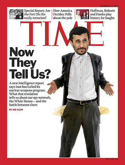 Photo/Illustration of Ahmedinejad with his empty pockets out. Head: Hasan Jamali/AP. Body: Reflex Stock. Shirt: Jonathan Kantor/Getty