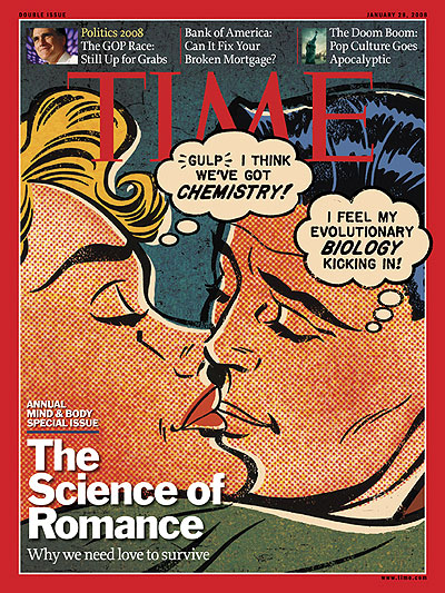 A Roy Lichtenstein-type illustration of a man and woman kissing with thought bubbles over their heads