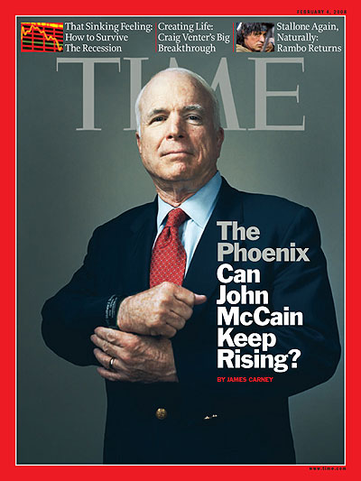 Portrait of John McCain from waist up holding his right wristband