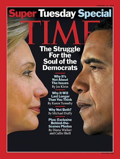 Profile photos of Hillary Clinton and Barak Obama facing each other. Hillary Clinton by Diana Walker for TIME; Barack Obama by Doug Mills - New York Times/Redux