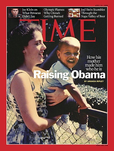A childhood photo of Obama being held by his mother.