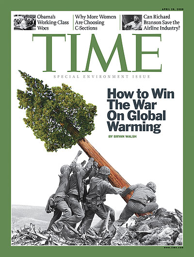 An Iwo Jima photo with a giant redwood instead of a flag. Photo-Illustration for TIME by Arthur Hochstein, including an Iwo Jima photograph by Joe Rosenthal-AP