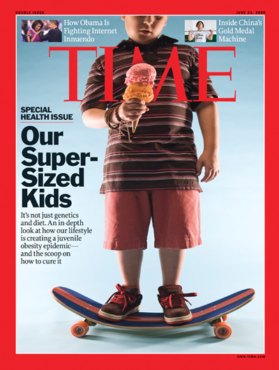 Fat kid holding ice cream cone on a sunken skateboard