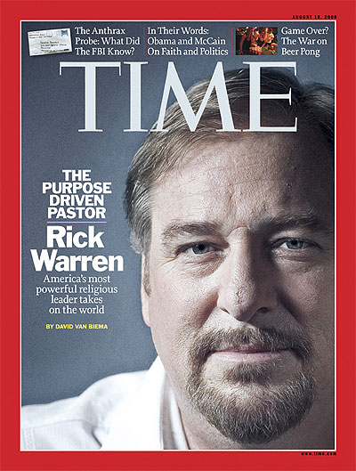 Close up photo of Rick Warren. Photography for TIME by Robert Gallagher. Insets, from left: AP; Andrew Kaufman for TIME