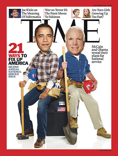 Obama and McCain in work clothes