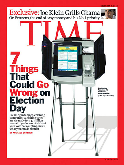 Contour/Getty. Photo of the Diebold AccuVote-TS electronic voting machine. Inset: Callie Shell/Aurora for TIME