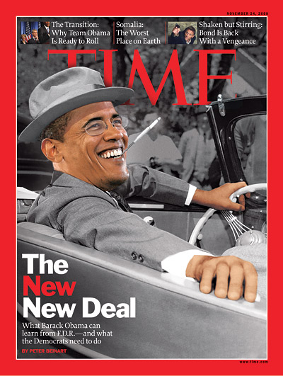 Barack Obama as Franklin D. Roosevelt. F.D.R.: AP; Obama: John Gress/Reuters. Insets from left: Damon Winter/The New York Times/Redus; Sony