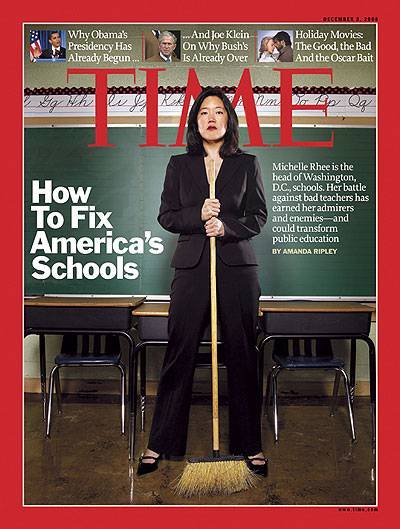 Photo of Michelle Rhee in a classroom. Insets, from left: Brian Kersey - Pool/Getty Images; PhotoXpress/ZUMA Press; James Fisher - 20th Century Fox