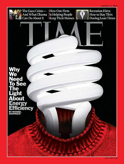 A fluorescent lightbulb wearing a sweater. Photo-Illustration for TIME with sweater and lightbulb from Getty Images. Insets, from left: Maxppp/Landov; photo-illustration (scale from Stockdisc/Getty Images)