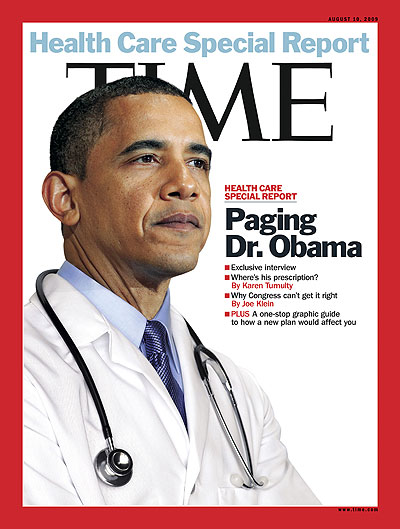 President Barack Obama wearing a doctor's white coat