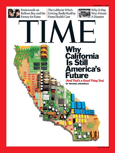 An outline of California state made up of microchips