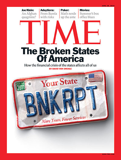 A license plate reads: Your State; BNKRPT; More Taxes, Fewer Services