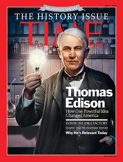 An illustration of Thomas Edison holding a lightbulb