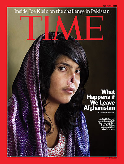 Portrait of Aisha, 18, who was sentenced by a Taliban commander to have her nose and ears cut off for fleeing her abusive in-laws