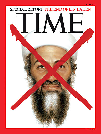 An illustration of Osama bin Laden with a red X on it.
