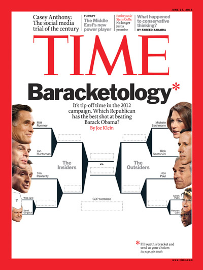 Illustration of a bracket to choose the Republican presidential candidate to face Barack Obama