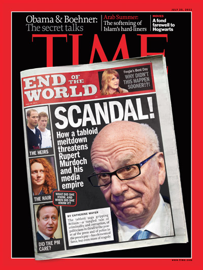 Photo illustration of a News of the World cover with Rupert Murdoch's headshot