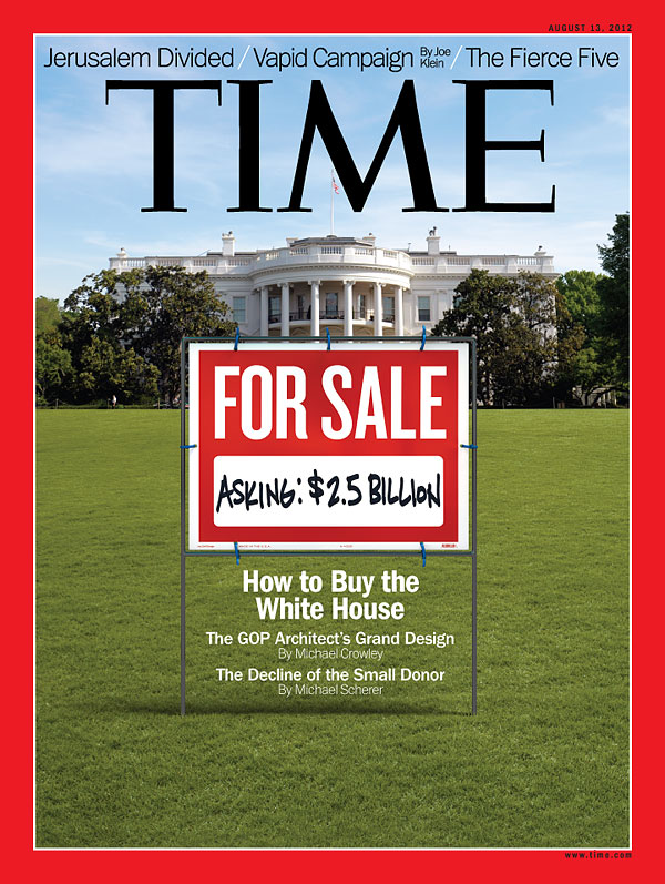 Photo Illustration of White House with Red For Sale Sign on Lawn