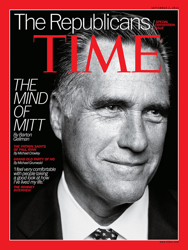 Black and white headshot of Mitt Romney