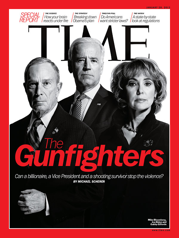 Portrait of Mike Bloomberg, Joe Biden and Gabby Giffords