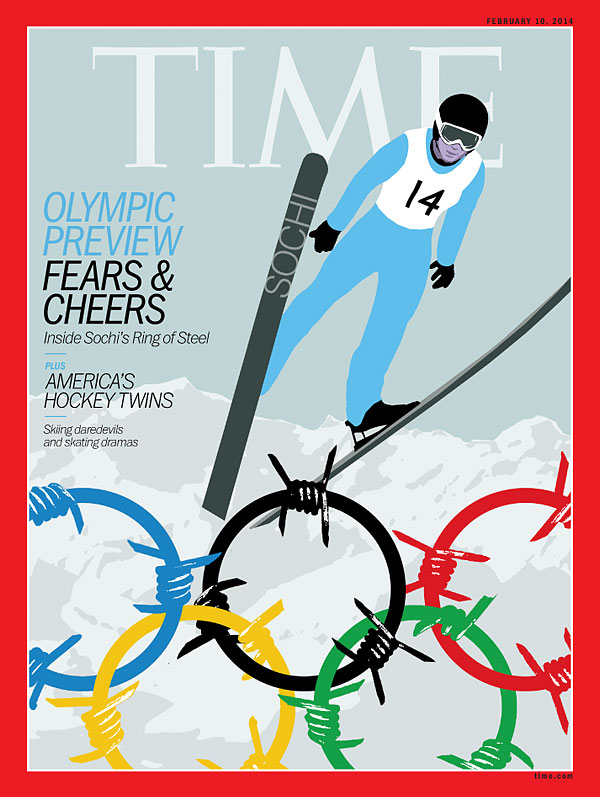 An illustration of a skier with the Olympic rings in barbed wire