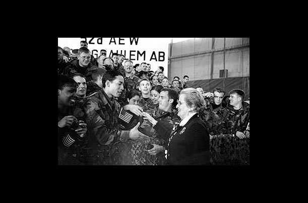 U.S. soldiers welcome Madeleine Albright to Spangdahlem air base in Germany