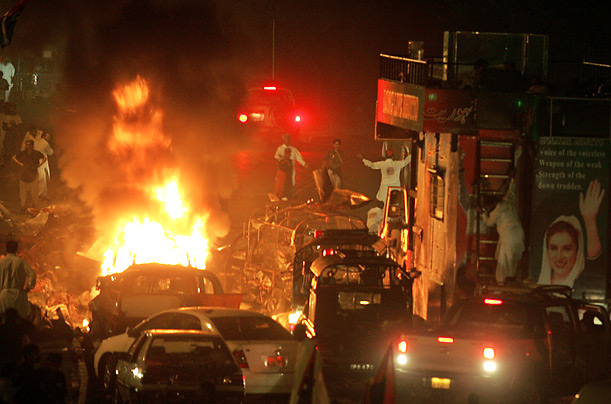 The blasts occurred approximately 30m from the truck carrying Bhutto and her party.