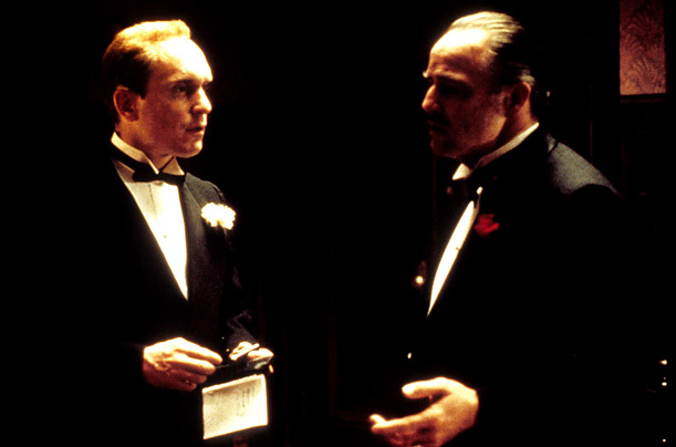 Robert Duvall and Marlon Brando play in the opening scene of the film, which Coppola directed under intense scrutiny from Paramount. For Brando the role of Don Vito is perhaps his most iconic permormance.