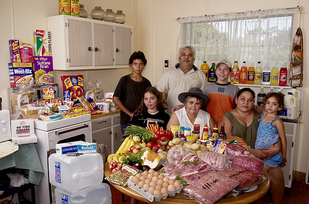 A photo of the Browns of River View, Australia with their weekly food displayed in the kitchen