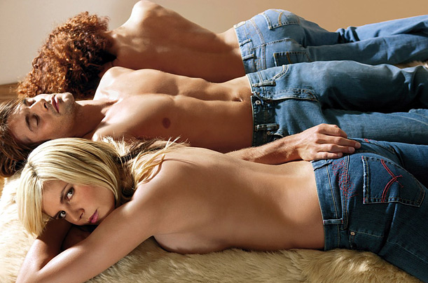 Supermodel Heidi Klum poses in an advertisement for Rosner jeans, a German clothing company.