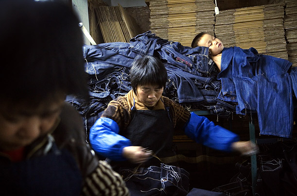 In order to fulfill the huge demand for their products, workers at the garment factories in Zhongshan are often required to work every day of the month.