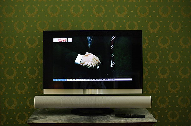 Pictures of the Year Best Photographs Pictures Time Magazine A television broadcasts a meeting between President Bush and Italian Prime Minister Romano Prodi in Rome