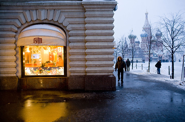Rich Russians A deluxe cafe in Moscow's GUM department store overlooks Red Square. In Soviet times, the gigantic complex once housed stores with empty shelves; now it is one of the most sought after addresses in the world.