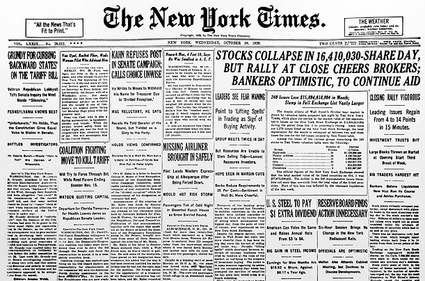 stock market crashes. Stock Market Crash 1929