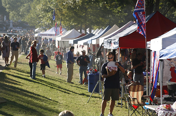 On the Saturday before every home game, Ole Miss supporters turn a forested area on the Oxford, Miss. campus into a densely packed tent city, complete with televisions, barbeques and chandeliers.