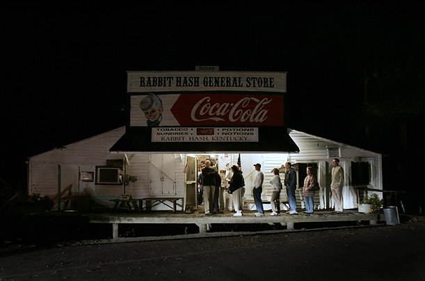 Citizens of Rabbit Hash, Kentucky wait outside the general store in early morning hours to cast their ballots.