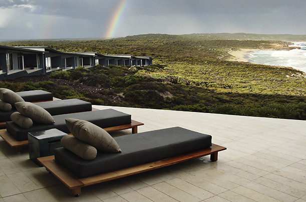 Known as Australia's Galapagos, K.I., as the locals call it, is home to kangaroos, wallabies, bandicoots and the fabulous Southern Ocean Lodge, above, built on 252 acres of virgin bushland.
