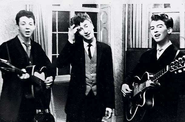 Paul, John and George perform at a wedding reception in 1958, when amongst other names, the group was known as The Quarrymen.