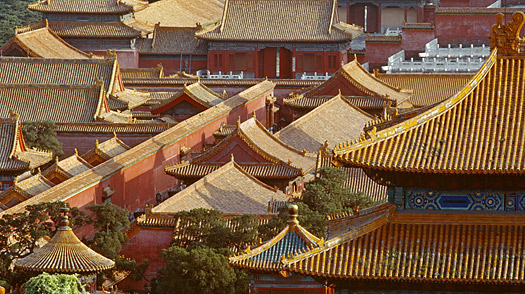 Rooftop view for the Forbidden City in Beijing, China.
