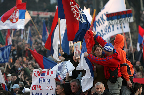 The day's events began with a massive rally in central Belgrade that attracted thousands of Serbian protesters.