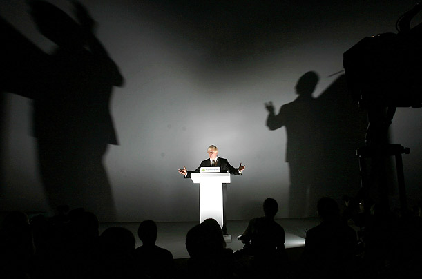 Conservative candidate for The Mayor of London addresses delegates at the 2007 Conservative Conference at Blackpool's Winter Gardens, on 30 September, 2007 in Blackpool, England.