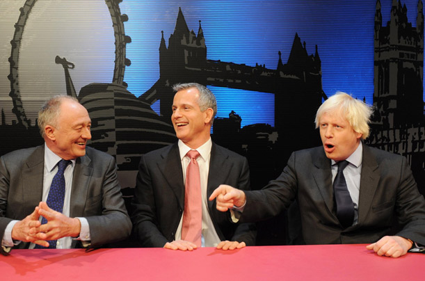 Photo dated 09/01/2008 of candidates for Mayor of London, Labour's Ken Livingstone (left), Lib Dem candidate Brian Paddick (centre) and Boris Johnson of the Conservative party.