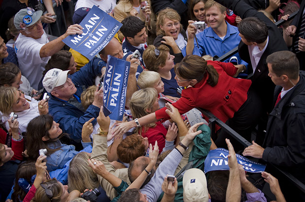 At some rallies, supporters have greeted Palin by chanting her name.