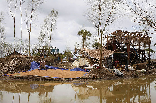 A rice mill damaged by the storm