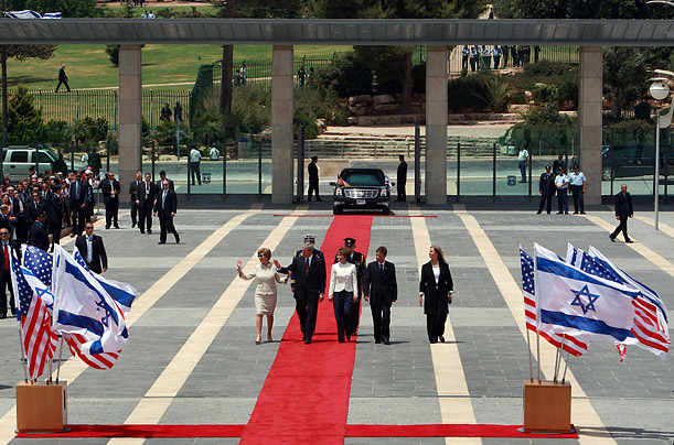 US President George W. Bush and First Lady Laura Bush are accompanied by Israeli Parliament Speaker Dalia Itzik (C) and her husband Danny Itzik (2nd R) upon Bush's arrival at the Israeli parliament in Jerusalem on May 15, 2008.