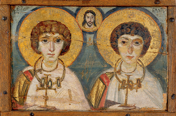 Icon with Christ and with SS Sergios and Bacchos