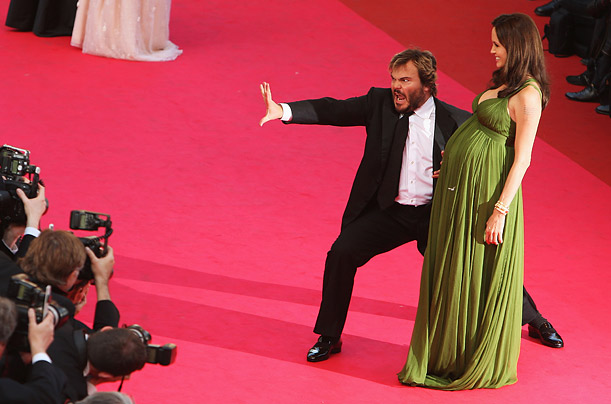 CANNES, FRANCE - MAY 15:  Jack Black and Angelina Jolie arrive at the Kung Fu Panda Premiere at Palais des Festivals during the 61st International Cannes Film Festival on May 15 , 2008 in Cannes, France.  (Photo by Sean Gallup/Getty Images)